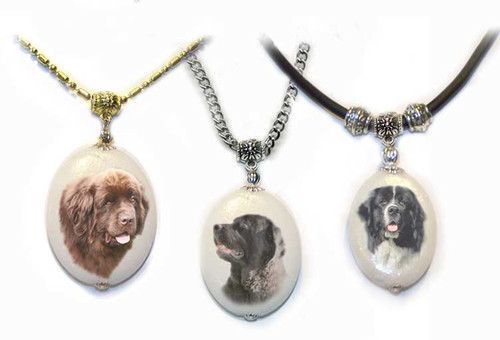 Newfoundland Dog Photo Pendant necklace on dolomite stone. Pick silver or gold trim. Choose  Black, Chocolate Brown or Landseer Newfie  photo.