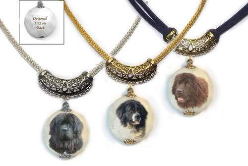 Newfoundland Dog Photo Pendant necklace on Marble stone. Pick silver or gold trim.  Choose Black, Chocolate Brown or Landseer Newfie photo. Optional text on back.