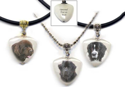 Black, Chocolate Brown or Landseer Newfie Photo Pendant necklace on quartz stone. Pick silver or gold trim with rope or chain. Optional text available on back.