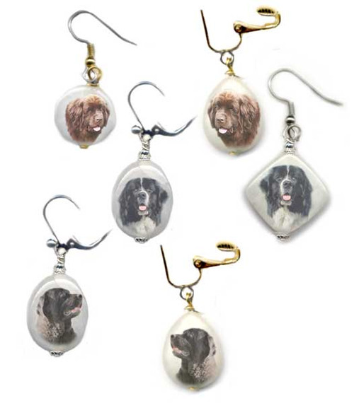 Choose  Black, Chocolate Brown or Landseer Newfie dog earrings with photos on snow quartz. Choose silver or gold trim, pierced or non-pierced.