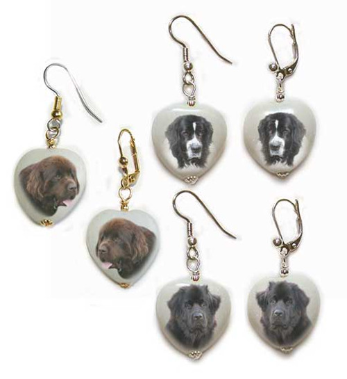 Black, Chocolate Brown or Landseer Newfie Dog gemstone heart earrings - Gold or Silver - Pierced or clip-on