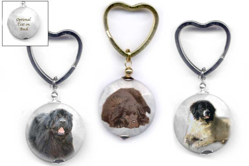 Black, Chocolate Brown or Landseer Newfie  photo key ring with heart ring on faceted marble gemstone. Silver and gold colors.Optional text on back available.
