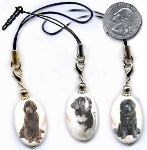 Black, Chocolate Brown or Landseer Newfie  photo lanyard or cell phone dust plug on magnesite gemstone. Silver and gold colors. Optional text on back.