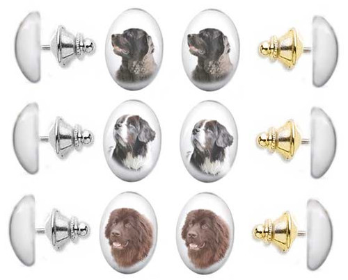 Black, Chocolate Brown or Landseer Newfie  photo tie tac pin with gemstone cabochon. Silver and gold clutch.