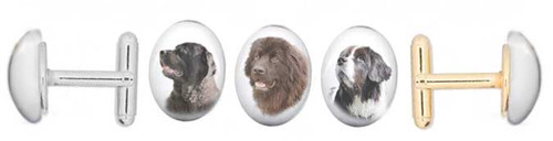 Black, Chocolate Brown or Landseer Newfie photo Cuff Links with gemstone cabochon. Silver and gold backing.