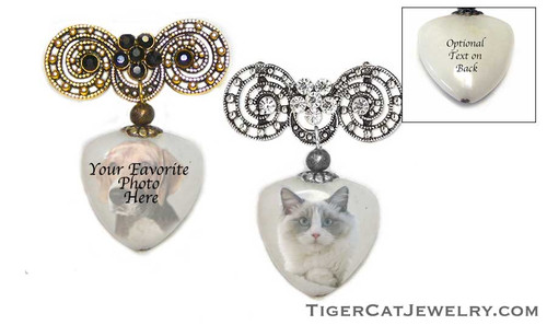 Your favorite Photo is featured on a quartz Gemstone Pin. Choose Gold and black rhinestone trim or Silver and white rhinestone trim. Free text inscription is optional for the back with coordinating earrings available. Make great pet memorials and truly personal photo jewelry gifts.