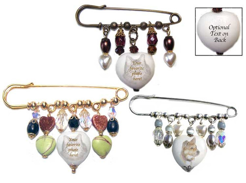 Pet Memorial Gemstone Kilt Pin with your favorite photo on a Malaysia jade heart trimmed with crystals, stone beads and pearls . Choose Gold, Silver or Bronze pin. Optional text can be placed on stone's back.