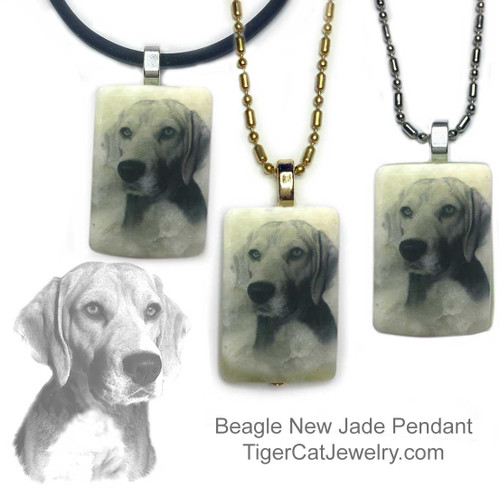 $16.99 Beagle dog necklace features a Beagle sketch on new Jade gemstone pendant.Your choice two metal colors, chain or rope. For men and women.#BeagleDog#BeagleJewelry#BeagleNecklace#BeaglePendant#Beagledogpendantnecklace