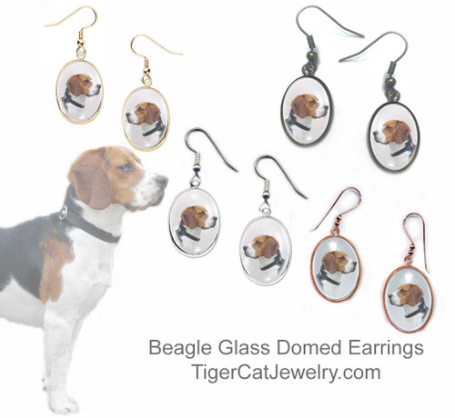$16.99  Beagle dog earrings feature picture of tricolored Beagle under a glass domed cabochon. Copper bezel comes in 4 plated colors. Bright gold, silver, rose gold or antiqued bronze.#BeagleDog#BeagleJewelry#BeagleEarrings#Beagle