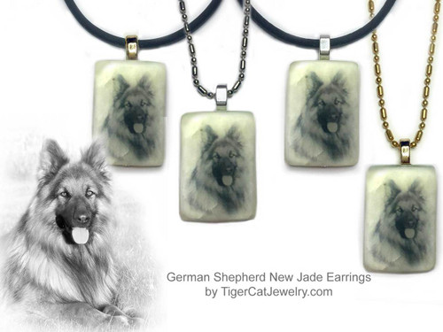 $16.99 German Shepherd dog necklace features a German Shepherd sketch on new Jade gemstone pendant.Your choice two metal colors, chain or rope. For men and women.#German ShepherdDog#German ShepherdJewelry#German ShepherdNecklace#German ShepherdPendant#German Shepherddogpendantnecklace