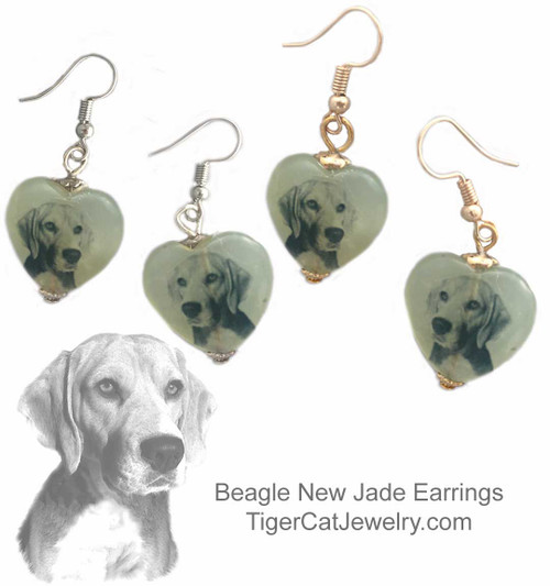 $16.99 Beagle dog earrings  feature a Beagle sketch on new Jade gemstone hearts. Your choice two metal colors gold or silver. #BeagleDog#BeagleJewelry#BeagleEarrings#BeagleSketch#BeagledogJewelry