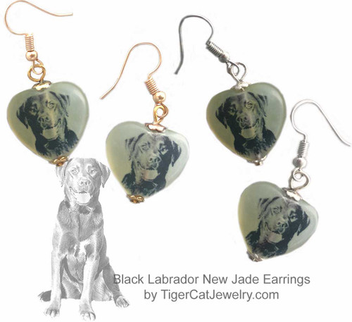 $16.99 Labrador Retriever Dog sketch is featured on new jade gemstone heart earrings.  Choose silver or gold trim Black Lab. Matching Lab pendant available. #LabradorRetrieverDog#LabradorRetrieverJewelry#LabradorRetrieverNecklace#LabradorRetrieverPendant#BlackLabrdogpendantnecklace#YellowLabrdogpendantnecklace
