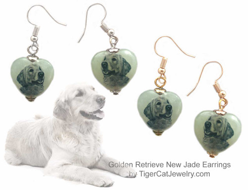 $16.99 Golden Retriever Dog sketch is featured on new jade heart earrings. Choose  silver, gold, pierced and clip. Matching Golden Retriever jewelry, pendant necklace available.#GoldenRetrieverDog#GoldenRetrieverJewelry#GoldenRetrieverEarrings#GoldenRetrieverPendantNecklace