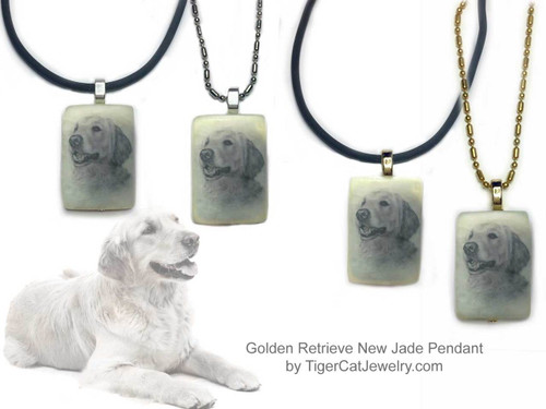 $16.99 Golden Retriever dog necklace features a Golden Retriever sketch on new Jade gemstone pendant.Your choice two metal colors, chain or rope. For men and women. #GoldenRetrieverDog#GoldenRetrieverJewelry#GoldenRetrieverNecklace#GoldenRetrieverPendant#GoldenRetrieverpendantnecklace