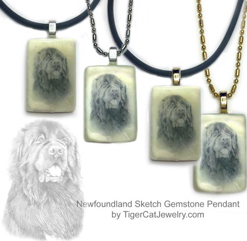$16.99 Newfoundland dog necklace features a Newfie sketch on new Jade gemstone pendant.Your choice two metal colors, chain or rope. For men and women.#NewfoundlandDog#NewfoundlandJewelry#NewfoundlandNecklace#NewfoundlandrPendant#Newfiependantnecklace