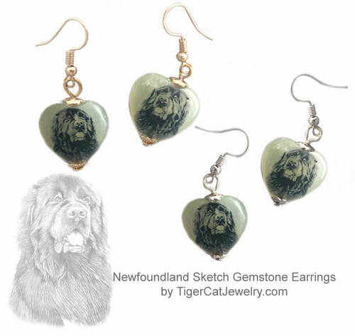 $16.99 Newfoundland Dog  sketch is featured on new jade heart earrings. Choose  silver, gold, pierced and clip. Matching Newfoundland Dog jewelry, pendant necklace available.#NewfoundlandDog#NewfoundlandJewelry#NewfoundlandEarrings#NewfieEarrings#Newfiejewelry