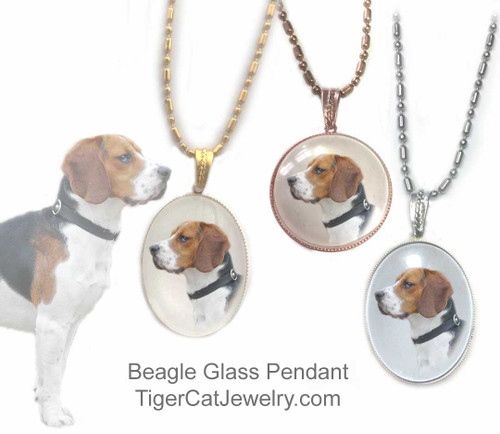 $16.99 Glass domed Beagle pendant necklace features a photo of a tricolored Beagle under a glass domed cabochon. Two sizes, three metal colors.#BeagleDog#BeagleJewelry#BeagleNecklace#BeaglePendant#Beagledogpendantnecklace#glassdogjewelry