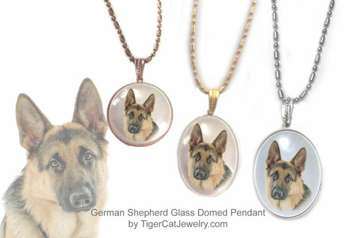 $16.99 Glass domed German Shepherd pendant necklace features a photo of a classic Shepherd under a glass cabochon. Two sizes, three metal colors. #GermanShepherdDog#GermanShepherdJewelry#GermanShepherdNecklace#GermanShepherdPendant#GermanShepherddogpendantnecklace