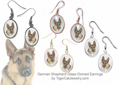 $16.99 German Shepherd dog earrings feature picture of a classic Shepherd under a glass domed cabochon. Copper bezel comes in 4 plated colors. Bright gold, silver, rose gold or antiqued bronze.#GermanShepherdDog#GermanShepherdJewelry#GermanShepherdEarrings#GermanShepherd