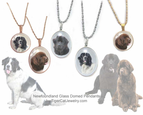 $16.99 Newfoundland Dog glass domed and metal pendant necklace in oval or round shape, colors available: Gold, Rose Gold or Silver with your choice of  Black, Chocolate Brown or Landseer Newfie photo. #NewfoundlandDog#NewfoundlandJewelry#NewfoundlandNecklace#NewfoundlandrPendant#Newfiependantnecklace