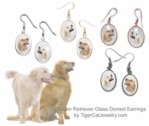 $16.99 Golden Retriever Dog is featured on glass domed cabochon earrings in red or blonde. 2photos, 4 colors. Pierced or non-pierced. Matching Pendants available #GoldenRetrieverDog#GoldenRetrieverJewelry#GoldenRetrieverEarrings#GoldenRetrieverPendantNecklace
