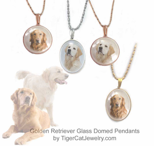 $16.99 Glass domed Golden Retriever pendant necklace features a photo of a classic Red or Blonde Retriever under a glass cabochon. Two Photos, two sizes, three metal colors. #GoldenRetrieverDog#GoldenRetrieverJewelry#GoldenRetrieverNecklace#GoldenRetrieverPendant#GoldenRetrieverpendantnecklace