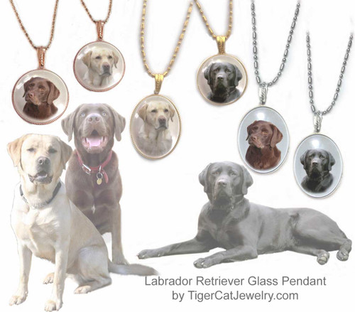 $16.99 Glass domed Labrador Retriever pendant necklace feature photo choice of classic Black, Yellow or Chocolate Lab dogs under glass cabochon. 2 sizes, 3 metal colors.Matching Earrings available. #LabradorRetrieverDog#LabradorRetrieverJewelry#LabradorRetrieverNecklace#LabradorRetrieverPendant#BlackLabdogpendantnecklace#YellowLabdogpendantnecklace