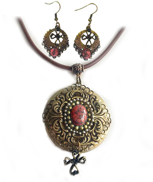 One of a kind Celtic Cross Pendant Necklace & Earring set bronze and coral