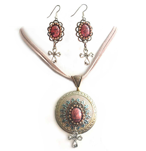 Rose colored Celtic Cross & Coral Renaissance Pendant & Earring Jewelry Set