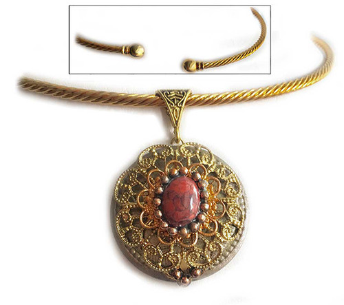 Western Renaissance Pendant - Coral on Neck Wire