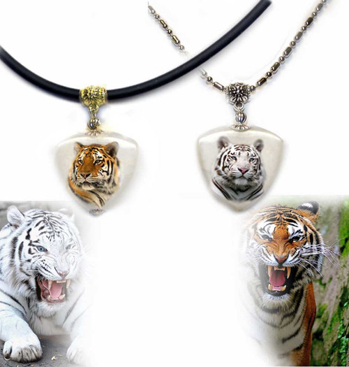 Orange or White Tiger Photo Pendant necklace on quartz stone. Chose brass or silver trim with rope or chain.