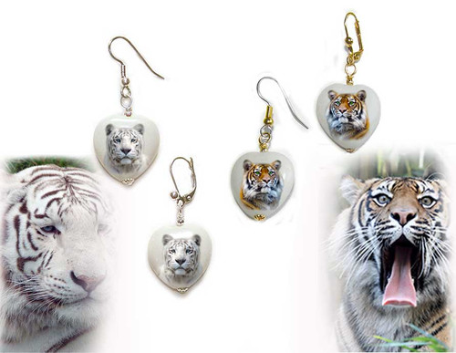 Orange  or White Tiger gemstone heart earrings - Gold or Silver, Pierced or clip-on