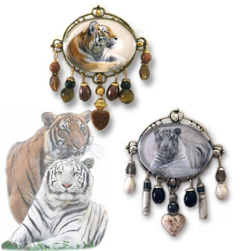 Contemporary styled brooch features a photo of a orange or white tiger  under a domed glass cabochon. Crystals and gemstone beads cascade beneath. Makes a very unique gift or special keepsake treasure. Coordinating Earrings and gift boxes available.