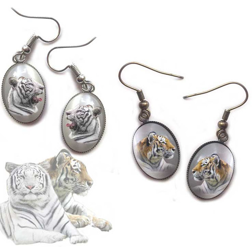 Your choice of  Orange Tiger or White Tiger glass domed earrings with fishhook fasteners or pierced post. Antique gold or silver. Gift box available.