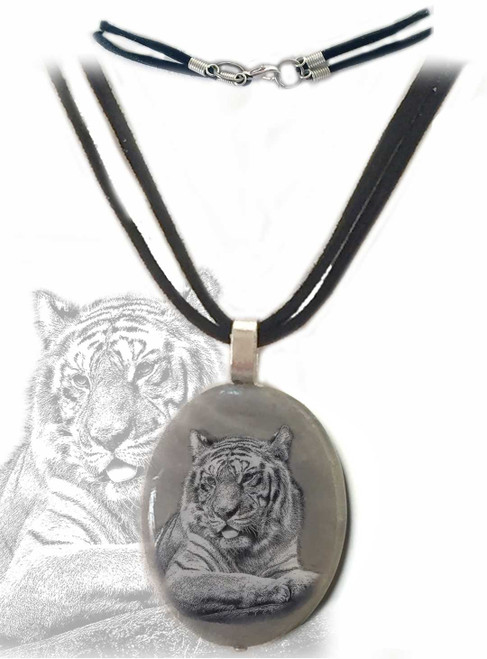 Tiger Sketch Pendant necklace with gray marble stone,  silver trim, with double strand faux suede rope. Gift box available.