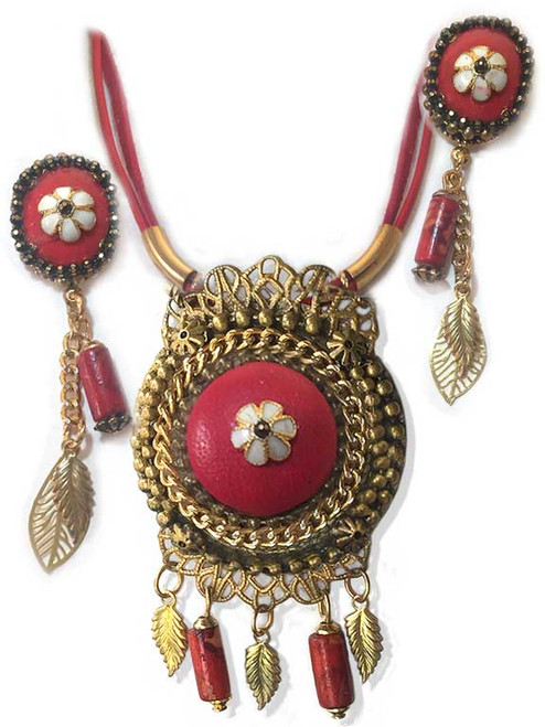 Red Leather pendant and earring set.
