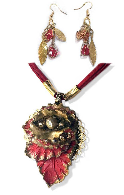 Red Cascading Leaves  pendant and earring set.