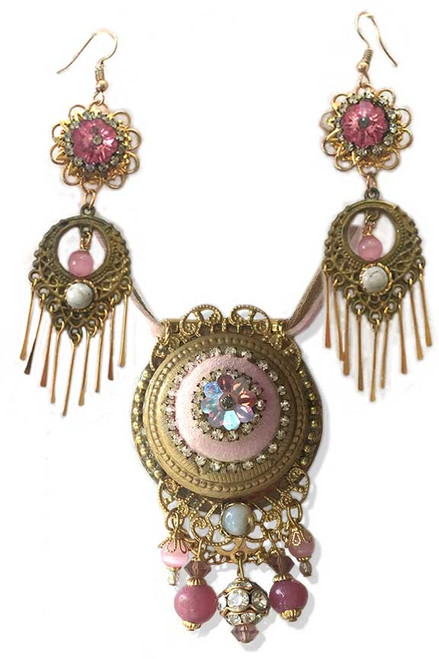 Pink Leather with Crystal Pendant Necklace and Earring Statement set
