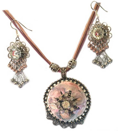 Pink Marbled cabochon with Crystal - Pendant Necklace and Earring Statement set