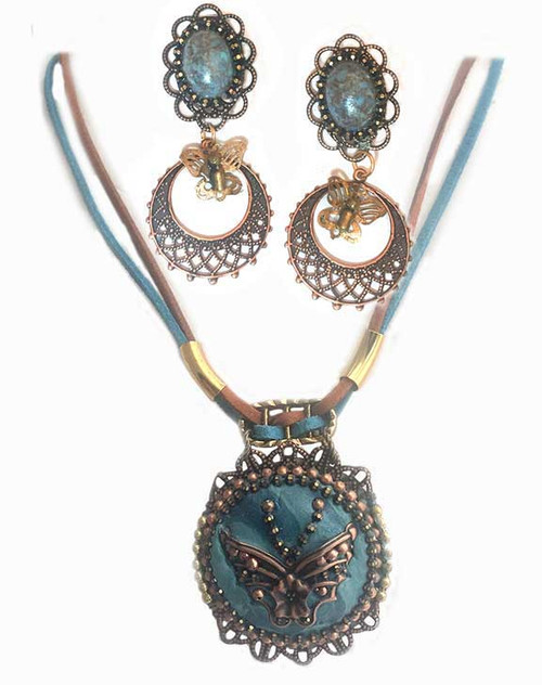 Turquoised Marbled cabochon with copper butterfly - Western or Southwestern Pendant Necklace and Earring Statement set