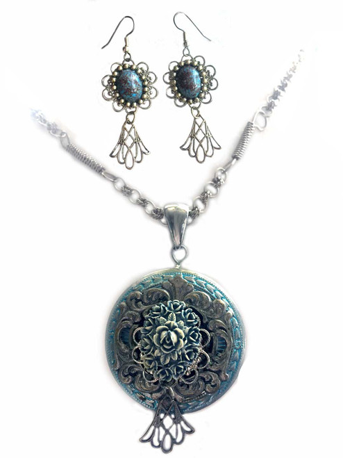Victorian Carved Aqua Rose Bouquet Pendant Necklace and Earring Statement Jewelry Set