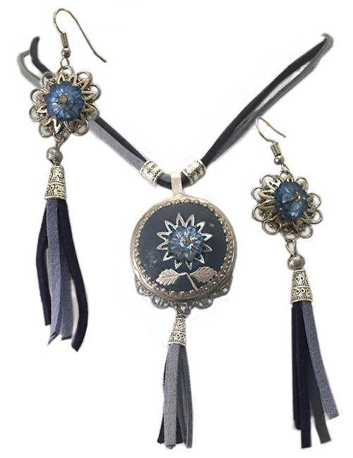 Denium Marble with tassel and crystal Pendant- Earring Statement Set