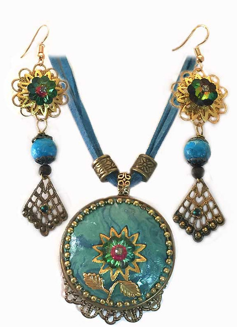 Turquoise Marbled and Swarovski Crystals, Pendant- Earring Statement Set
