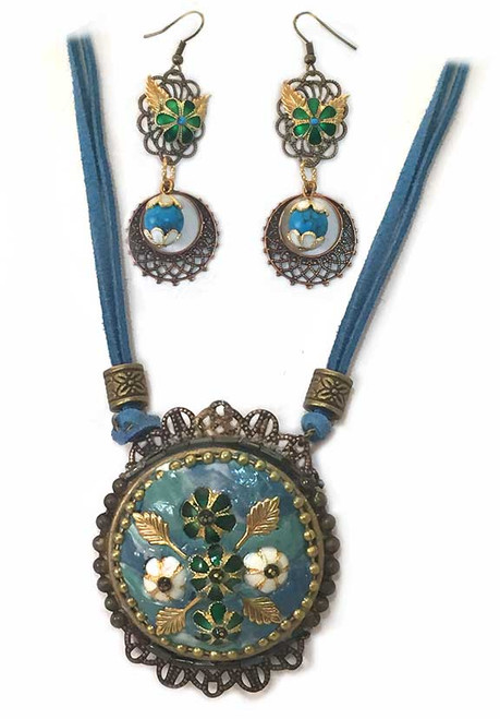Marbled Turquoise with Cloisonne Flowers, Pendant- Earring Statement Set