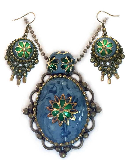 Victorian Turquoise Marble, Cloisonne Flowers Pendant Necklace and Earring Statement Set