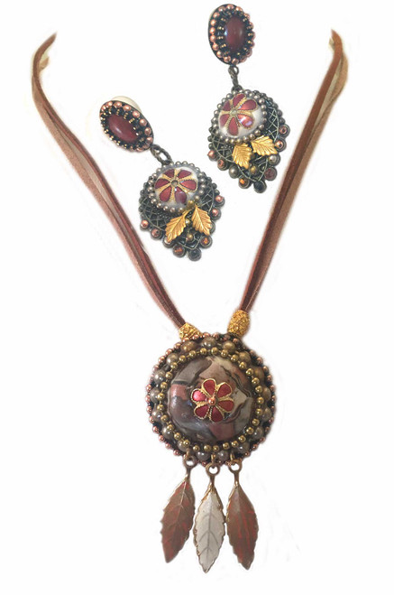 Marbled stone with Cloisonné, Pendant Necklace and Earring Statement Set