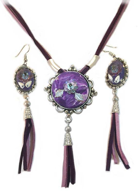 Purple Marble with tassel and crystal Pendant- Earring Statement Set