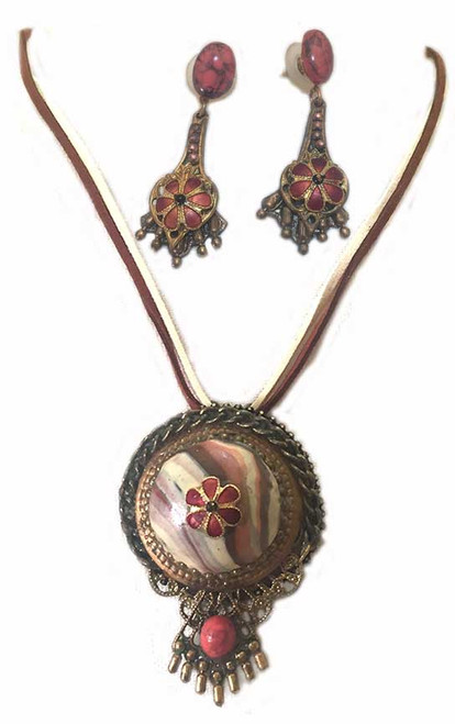Earth tone Marble with Cloisonne Flowers, Pendant Necklace and Earring Statement Set
