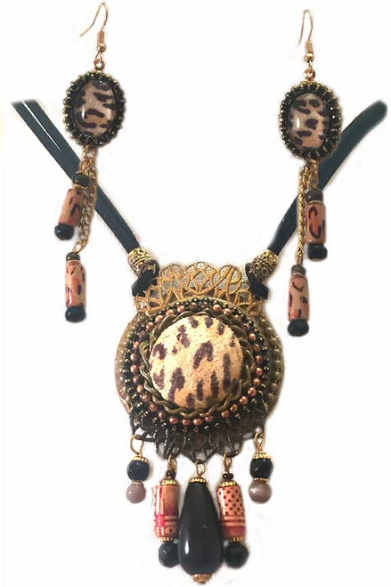 Leopard Skin Leather Pendant Necklace and Earring Statement Set