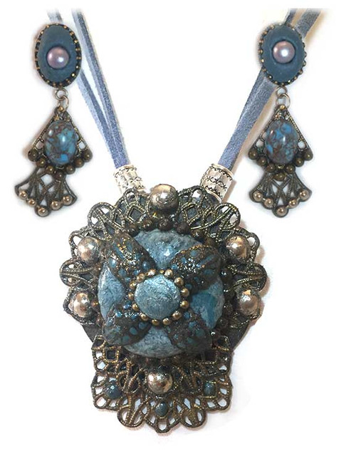Victorian  Marbled tourquoise Ornate Metal Pendant Necklace and Earring Statement Set